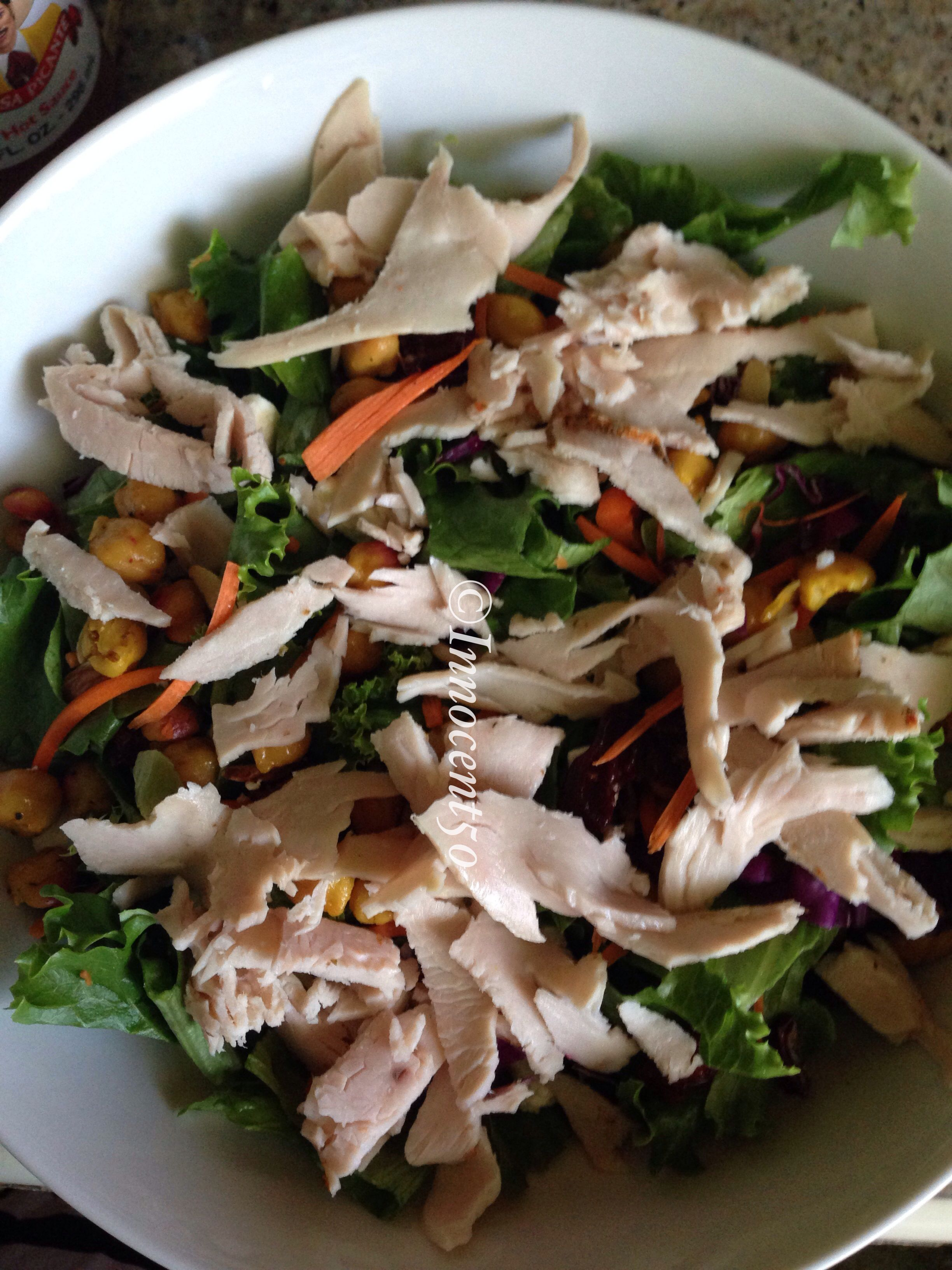 Bistro Salad With Herb roasted turkey breast!!   Fresh leaf blend, Crunchy carrot , Sliced honey roasted almond, Feta cheese, Dried cranberries, Turkey and white balsamic dressing #organic #paleo #mywholefoodlife #mindbodygreen #cleaneatingrecipes #caribbeangirl #cleaneating #healthylifestyle #healthyfoodshare #healthyliving #fooporn #foodie #beautybleand #wholefoods #weightloss #superfoods #islandgirl #instafood