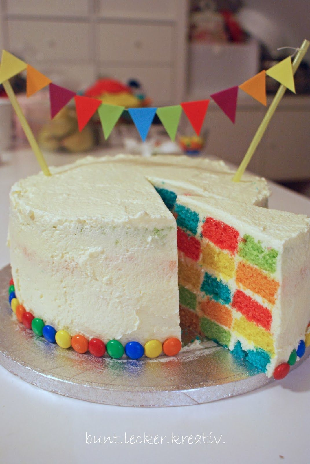 Photo of bunte Schachbrett Torte …colorful surprise inside cake