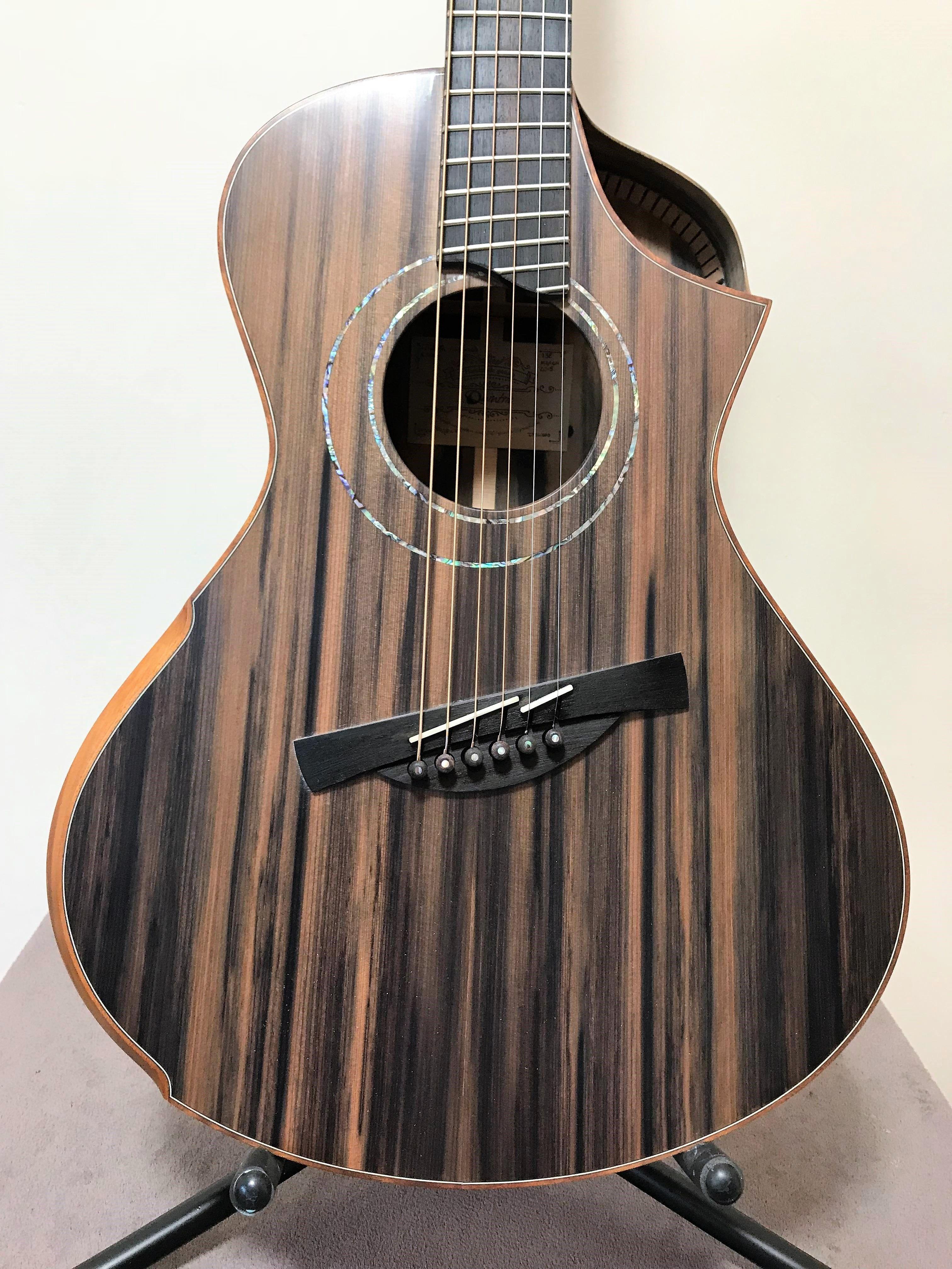 Handmade Guitar Acoustic Guitar Ebony Sinker Redwood Luthier Quintric Guitars Handcrafted Guitar Quality Guitar Handmade Guitar Guitar Design Luthier Guitar