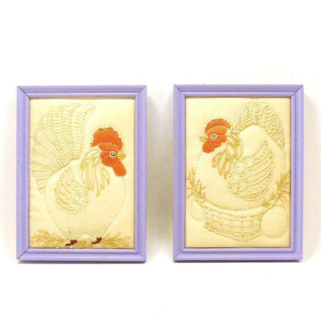 Vintage rooster wall art, framed art, fabric art, hen, lilac ...