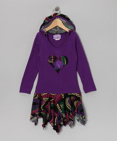 Take a look at this Grape & Black Abstract Handkerchief Dress - Toddler & Girls by So Sami on #zulily today!