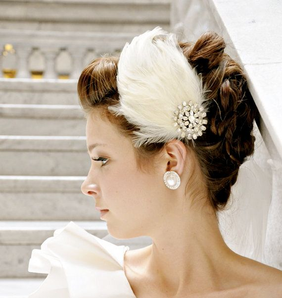 Wedding Hair Accessories Ivory Bridal Feather by bethanylorelle - via http://bit.ly/epinner