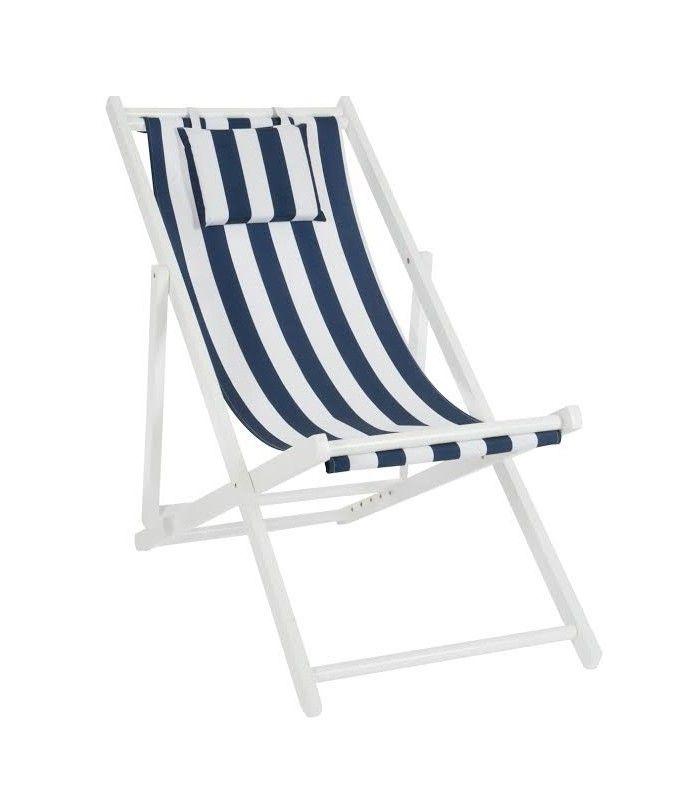 chaise longue pliante tissu bleu