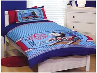 Wellboo Boys Train Duvet Cover Cartoon Transport Bedding Cover Sets Cars Station Queen Kids Children White and Blue Duvet Cover Full Cotton Reversible Travel Durable Breathable Healthy No Insert