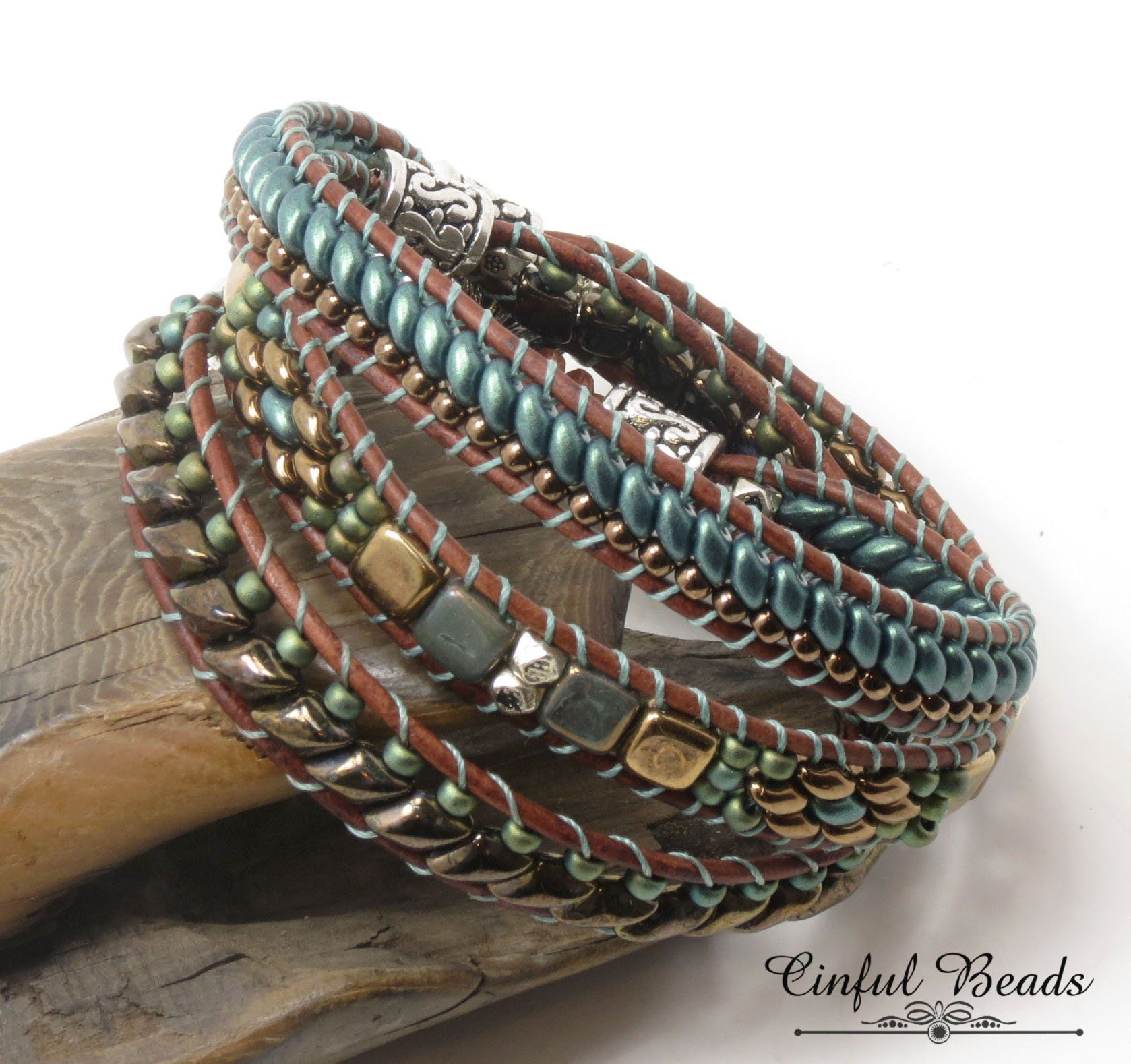 c2fa4a53caf4 Beaded Leather Bracelet - Boho Bracelet - Bronze