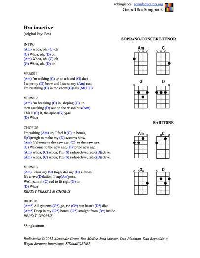 Radioactive (Am, C, G, D) | Music - Ukuleles!!! | Pinterest ...