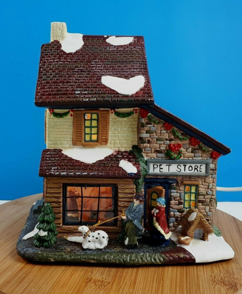 Christmas Village Lighted House Pet Store Ceramic Pet Shop