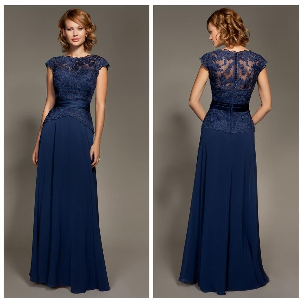 Modest Navy Blue Bridesmaid Dress Chiffon Lace Peplum Sash Bateau ...