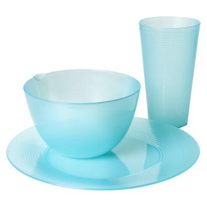 Room Essentials Trade Ribbed 12 Piece Plastic Dinnerware Set