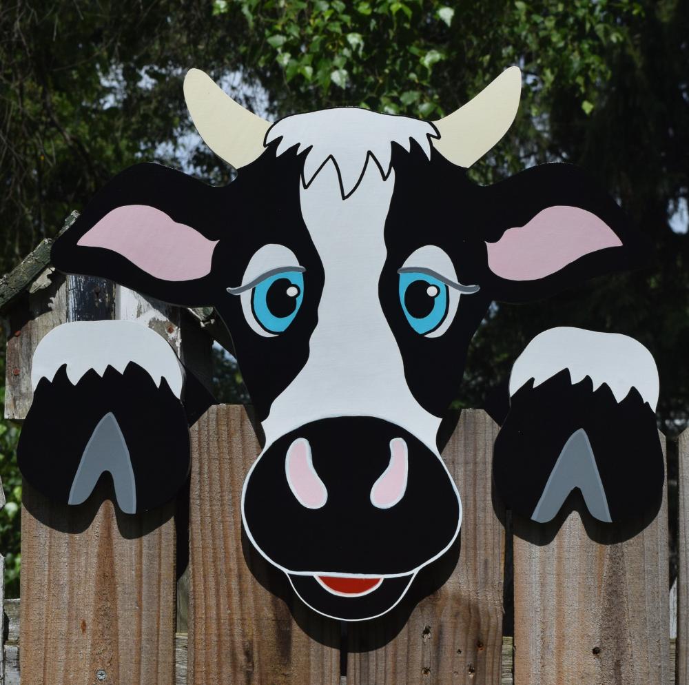 Koe Hek Peeker Koe Hek Decoratie Buiten Werf Kunst Koe Hek Etsy Fence Art Yard Art Fence Decor
