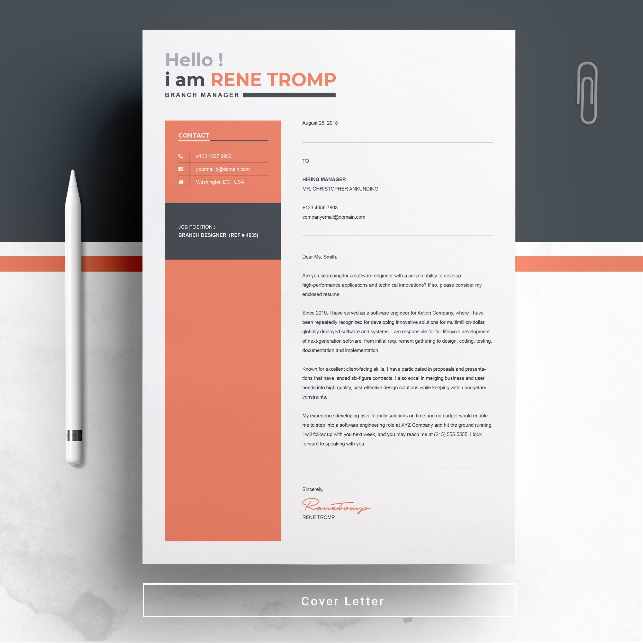 1 Page Professional Resume Template , #AFFILIATE, #icons ...