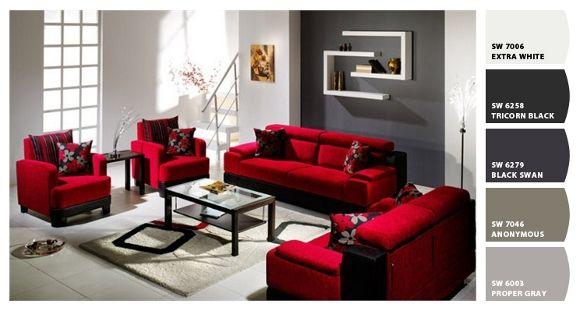 Decoracion de salas con muebles rojos google search for Colores de muebles de sala