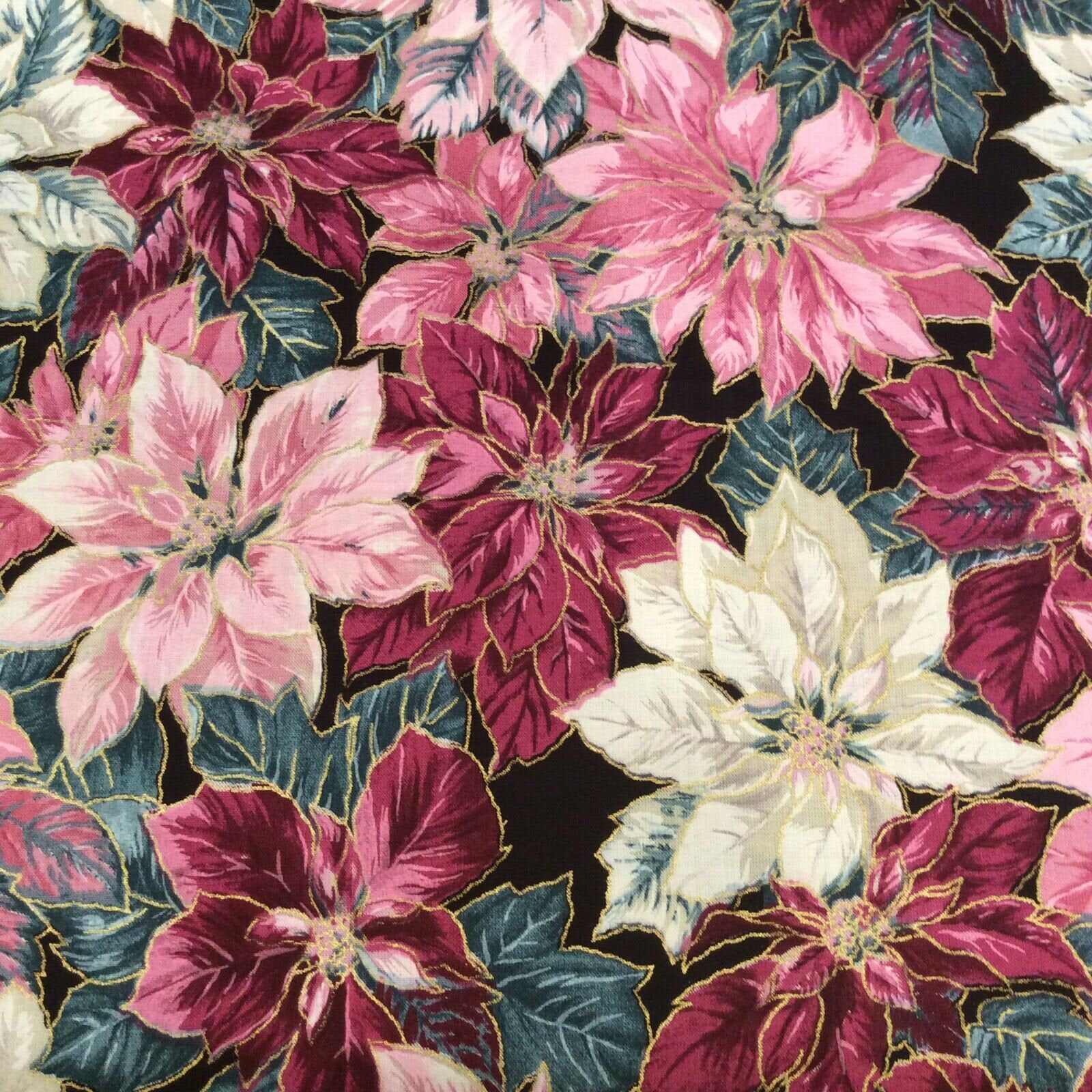 Christmas Pink White Poinsettias Fabric Material Concord Etsy In 2020 Pink Christmas Poinsettia Fabric Material
