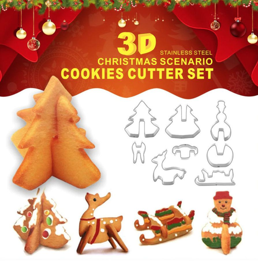 8pcs Christmas Biscuit Mould 3D, Xmas Biscuit Pastry, Fondant Curved Cookie, Mold Sugarcraft, Chocolate Decorating, Plunger Cutter #ChocolateDecorating #MerryChristmas #PlungerCutter #XmasBiscuitPastry #ChristmasGift #FondantCookie #MoldSugarcraft #BiscuitMould3d #DirtySantaGift #Christmas