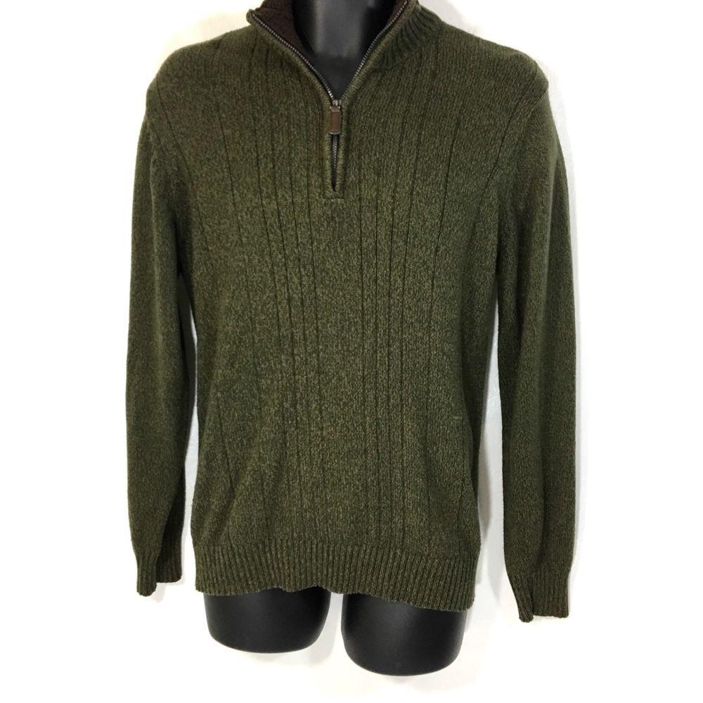 Oscar De La Renta Mens Sweater Size M Cotton Blend 14 Zip Green