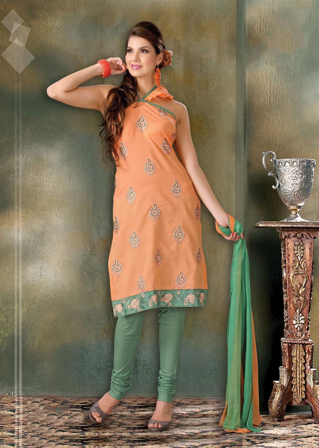 $32.15 Orange Stone Work Churidar Salwar Suit 23316