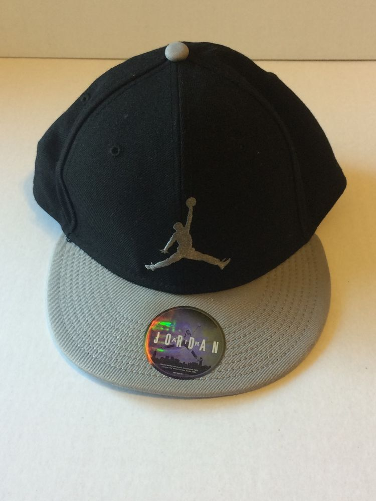 6426d4b6c24 Nike Air Jordan Jumpman Hat Black Gray Snapback One Size Fits Most 100%  Wool  Jordan  Snapback