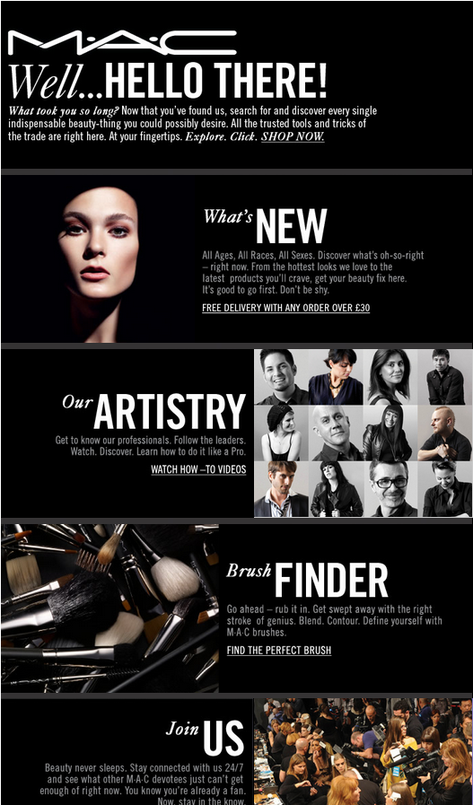 Welcome Email From Mac Cosmetics Emailmarketing Welcomeemails Inspiration