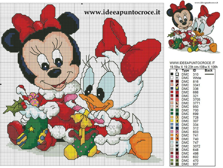 Immagini Natale Disney Baby.Baby Minnie E Paperina Natalizie Schema Punto Croce