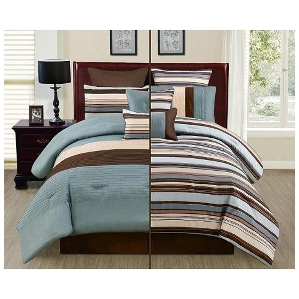Reversible Blue Beige Brown Luxury Stripe 8 Piece Bedding Comforter Set Full Size Comforter Bedding Sets Blue Bedding Sets King Bedding Sets Brown and blue king size comforter sets