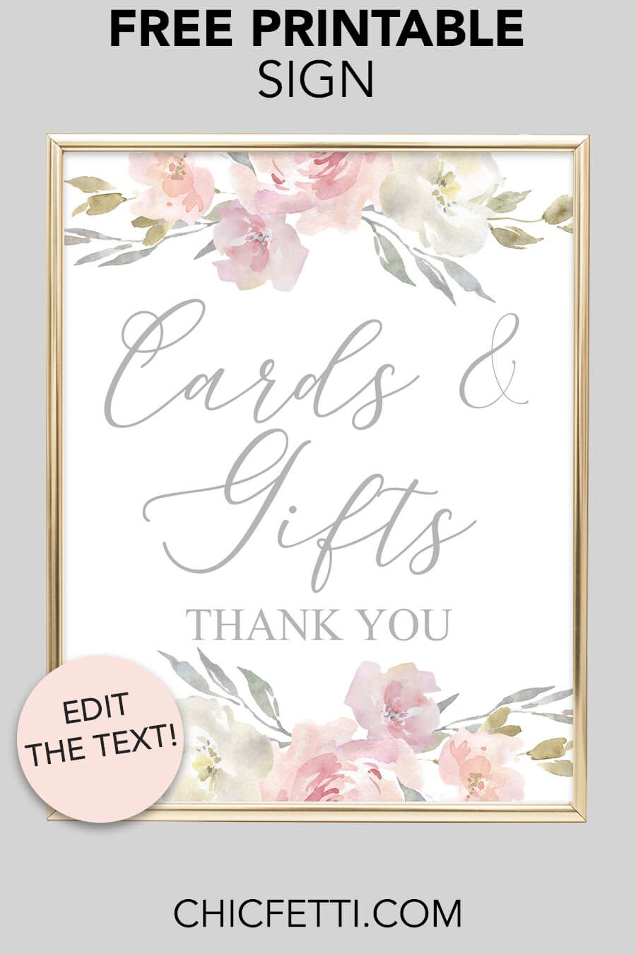 image about Free Printable Wedding Cards named Playing cards Items Printable Indication (Blush Floral Free of charge Printables