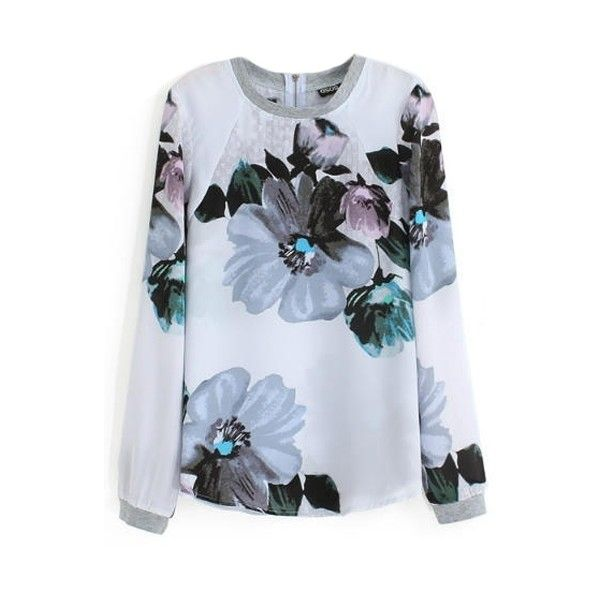 Floral Print Round Neck Long Sleeve Zip Back T-Shirt (165 NOK) ❤ liked on Polyvore featuring tops, t-shirts, blue floral top, long sleeve t shirt, floral t shirt, blue long sleeve t shirt en blue t shirt