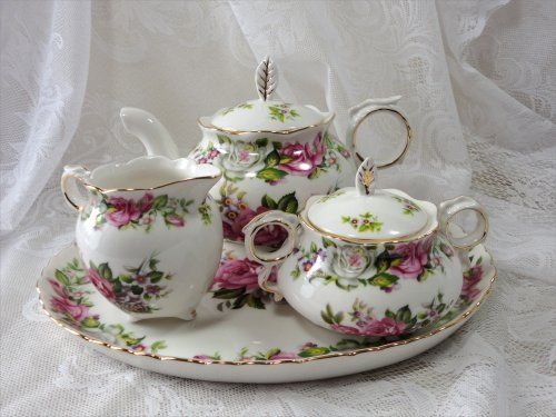 Tea pot, tea set with roses, tea time for one or two