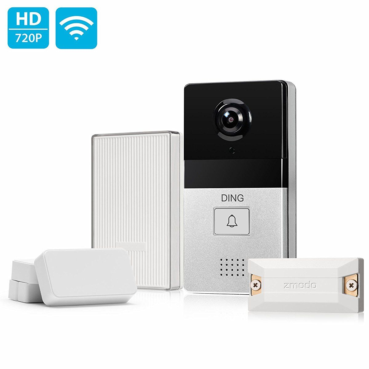 DING WiFi Enabled Video Doorbell Package with Smart Home