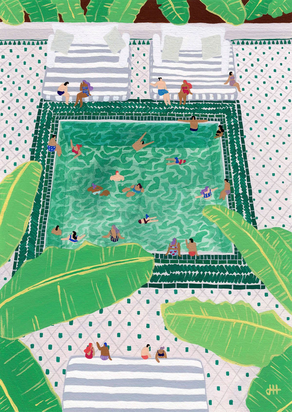 By The Pool Art Art Prints Illustration