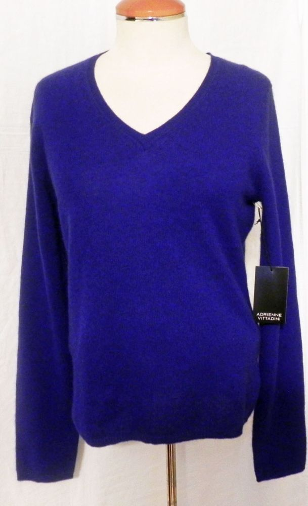 619d522b4f4 Cashmere Sweater Womens Medium Pullover V Neck Royal Blue New Adrienne  Vittadini  AdrienneVittadini  VNeck
