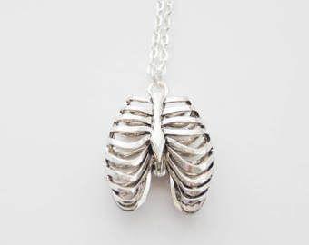 Rib Cage Necklace, Anatomy Necklace, Ribcage Necklace, Ribs Necklace, Bone Necklace, Doctor Necklace. Goth Necklace, Unisex Necklace