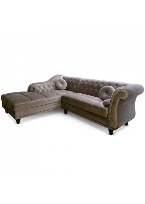 Canapé d\'angle Isium Velours Taupe style Chesterfield | Canapé d ...