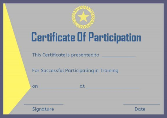 Training Participation Certificate Format Certificate Of Participation Template Certificate Templates Templates Free Download