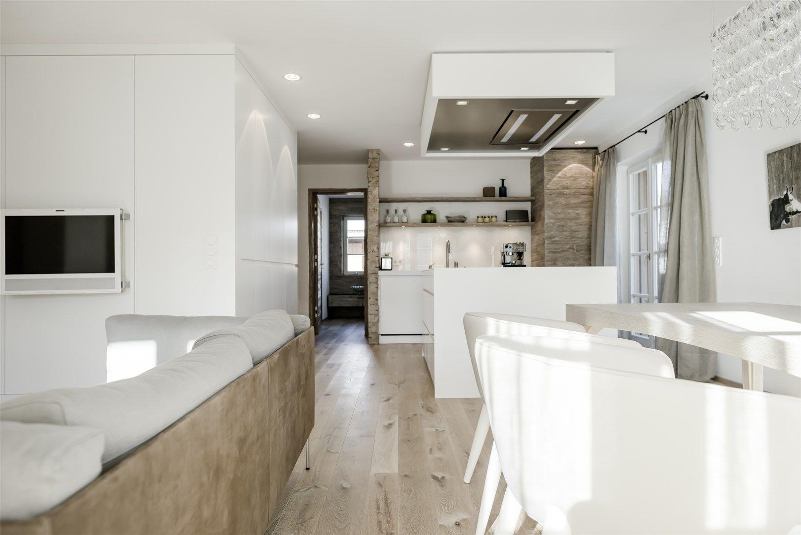 modernes wohnzimmer mit offener k. Black Bedroom Furniture Sets. Home Design Ideas