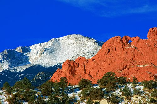 Pikes Peak Mountain Kissing Camels Red Rocks In The Foreground