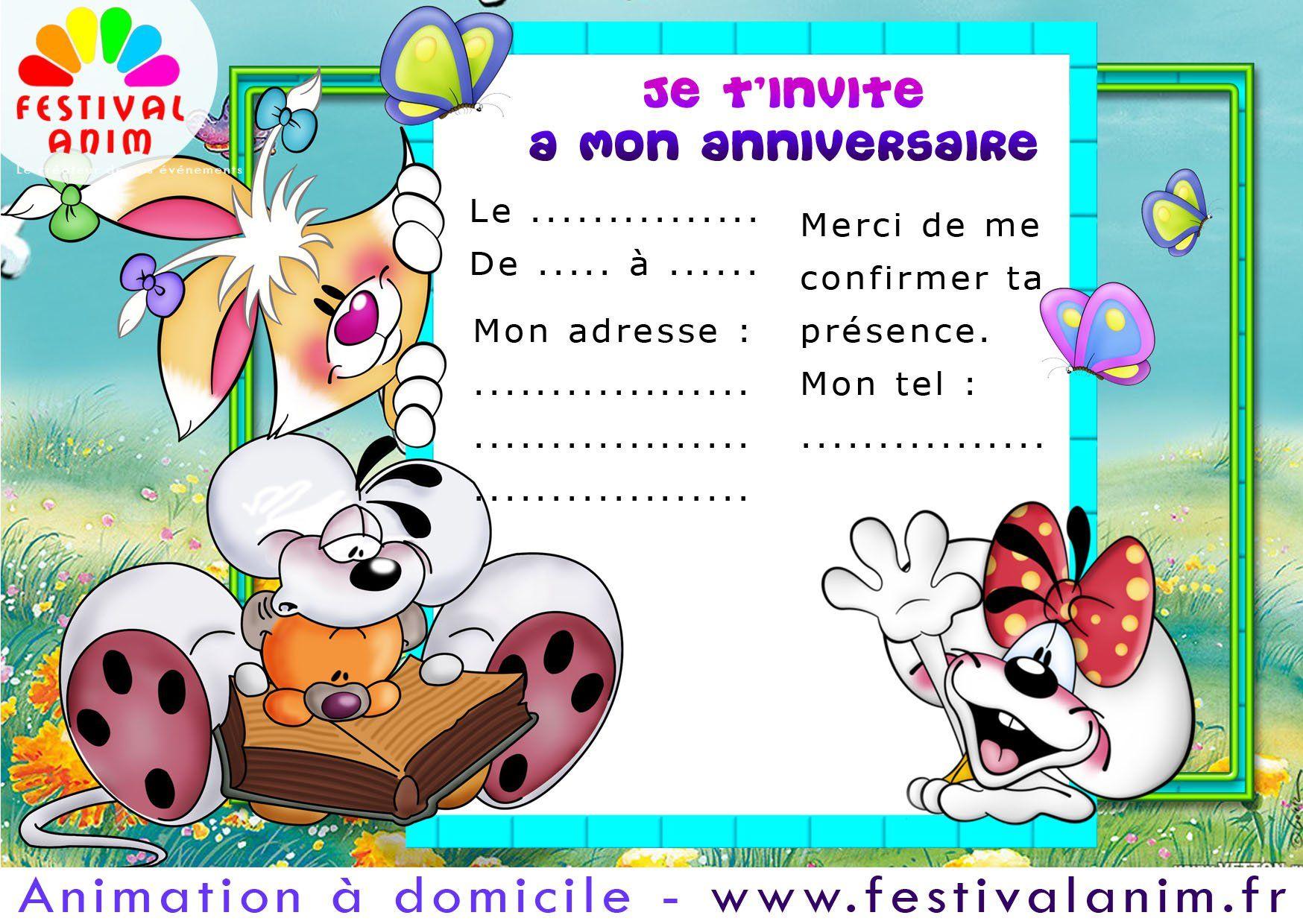 Super carte invitation anniversaire : Carte invitation anniversaire  CT42