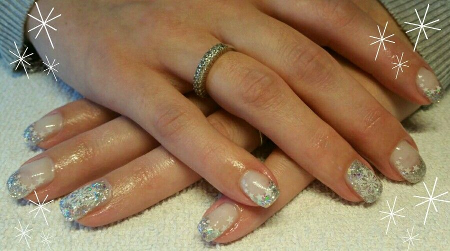 Christmas nails glitter silver stars snowflake