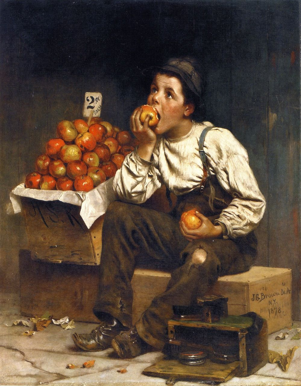 """""""Eating the Profits"""" by John George Brown, 1878."""