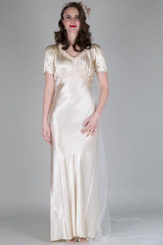 Authentic Vintage Bridal - 1930s Simple Satin Vintage Wedding Dress ...