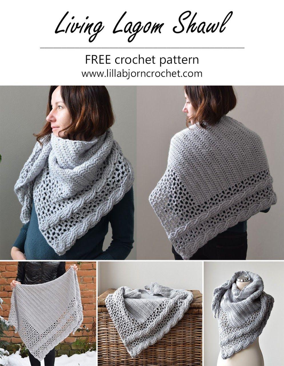 Living Lagom Shawl: FREE crochet pattern (US terms) #crochetshawlfree
