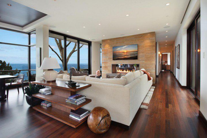 Spacious Interiors With Two Sided Fireplaces