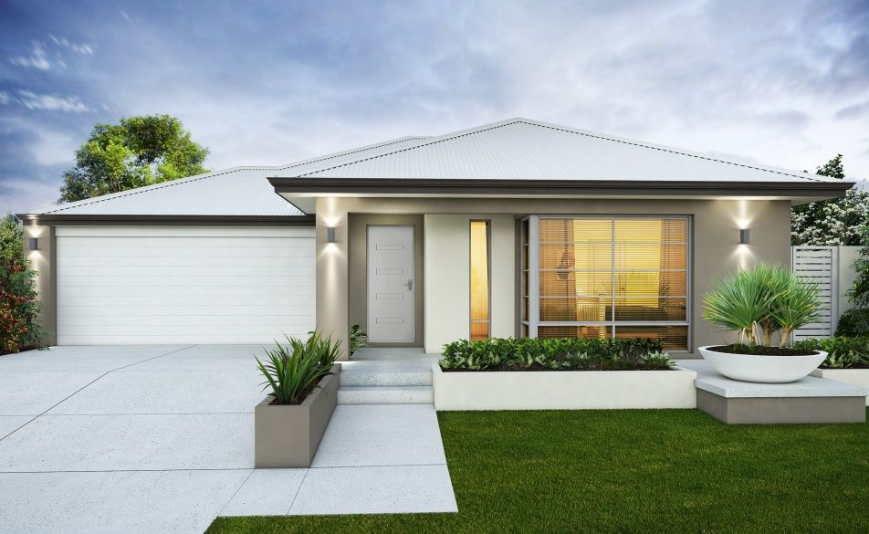 a light contemporary look with white roof and garage door