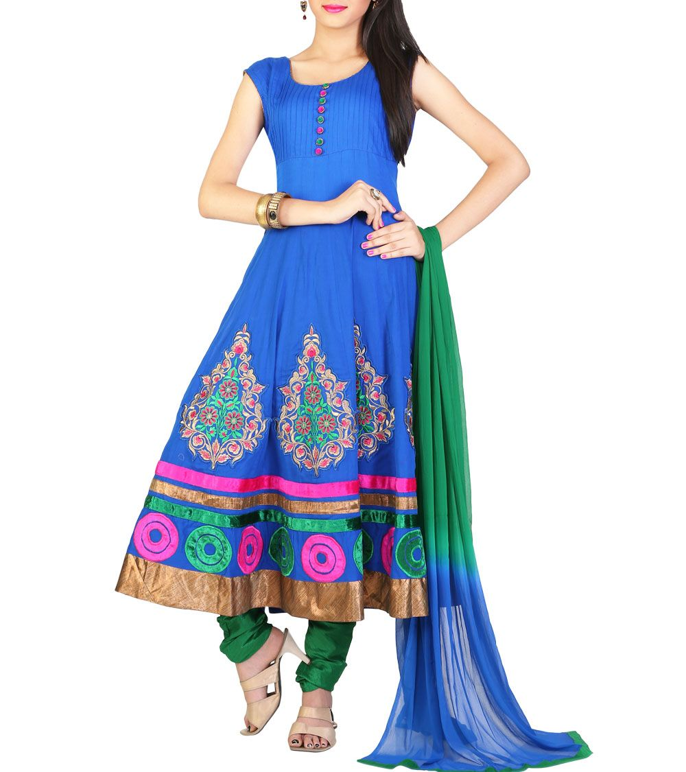 Royal Blue Embroidered Cotton Anarkali Suit