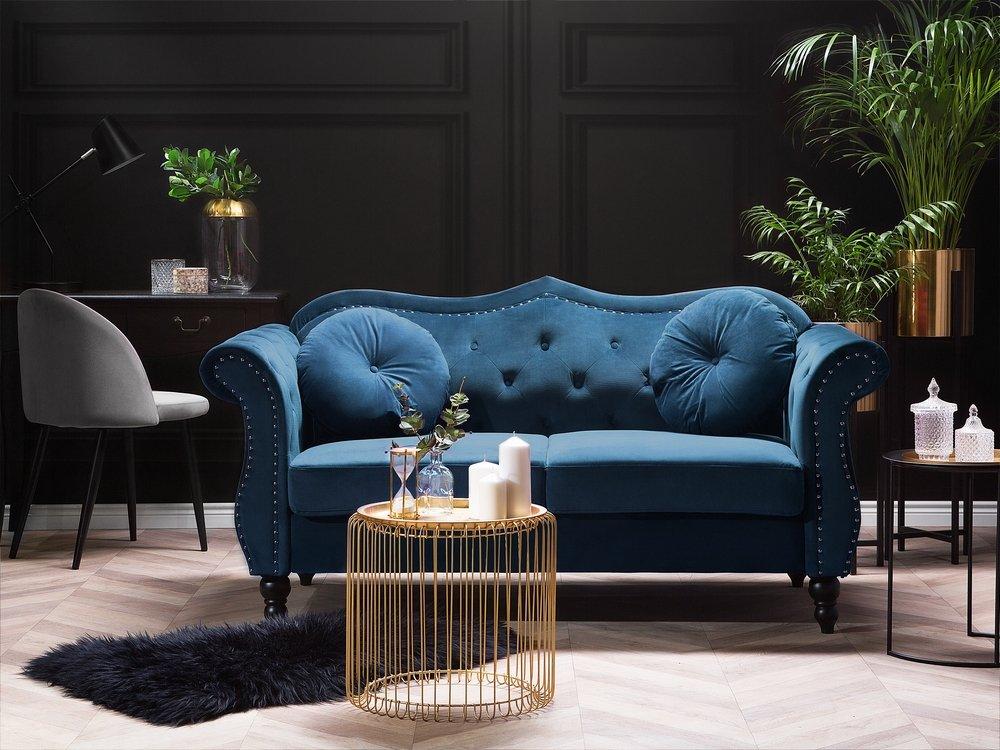 2 Seater Velvet Sofa Cobalt Blue Skien Beliani Co Uk Sofa Living Room Furniture Collections Velvet Sofa