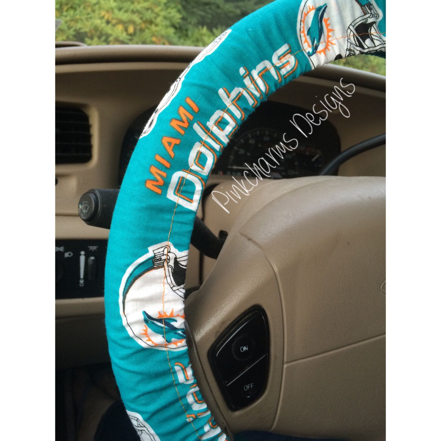Incredible Steering Wheel Cover In Nfl Miami Dolphins Print Cotton Fits Pabps2019 Chair Design Images Pabps2019Com