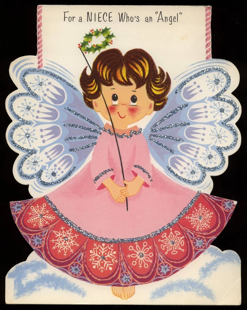 "Glitter Little Angel Girl Vintage Rust Craft Christmas Greeting LARGE 9.5"" Card"