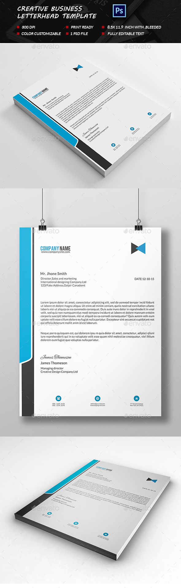 Corporate Business Letterhead  Corporate Business Business And