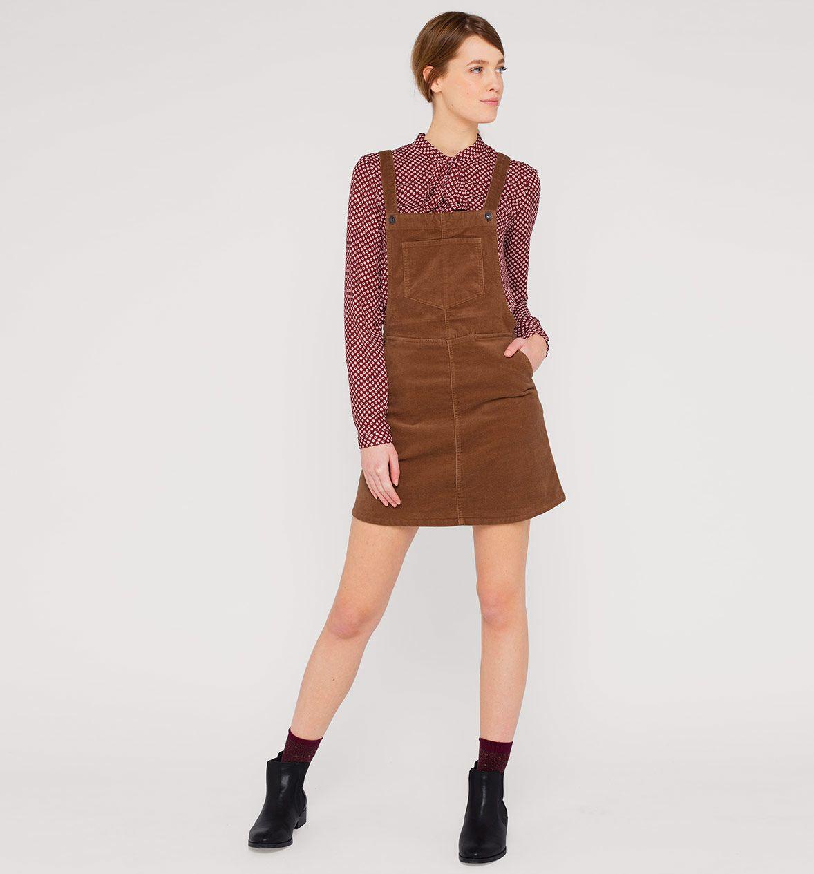 clockhouse latzkleid aus cord in braun - mode günstig online
