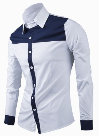 4b4b542e9add8 Camisa Casual Fashion en Dos Colores - Cuello Moderno - en Blanco y Azul