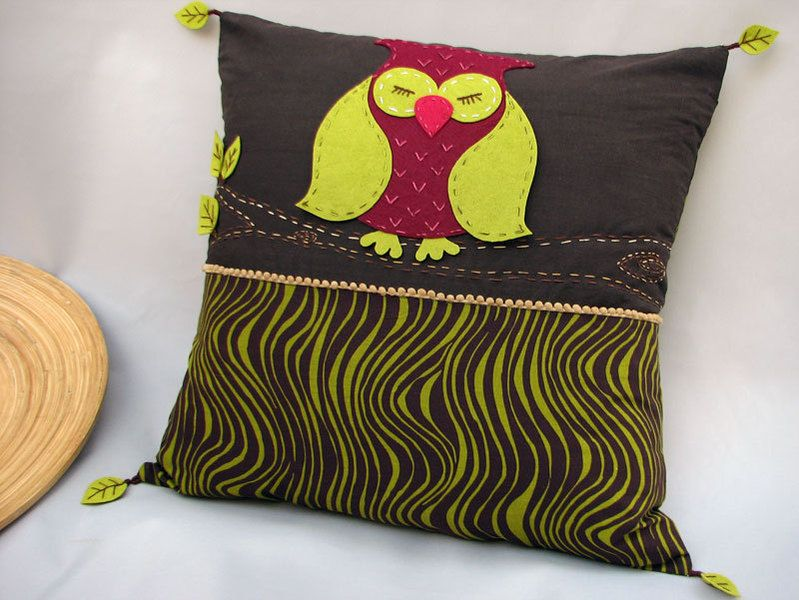 Deko Kissenbezüge Handmade Cushion Cover - Sleeping Owl , Felt. Deko Kissen ...